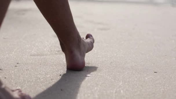 Cinematic footage. Close-up of woman legs walking the sandy beach.