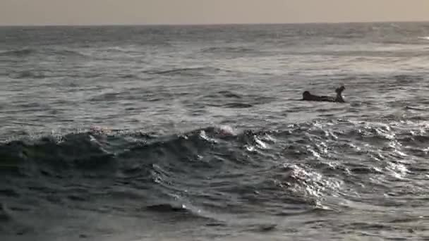 A young man is swimming at the ocean on his surfboard.