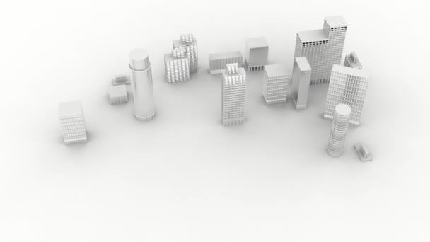 Videos. 3D illustration. Expansion city on white background.