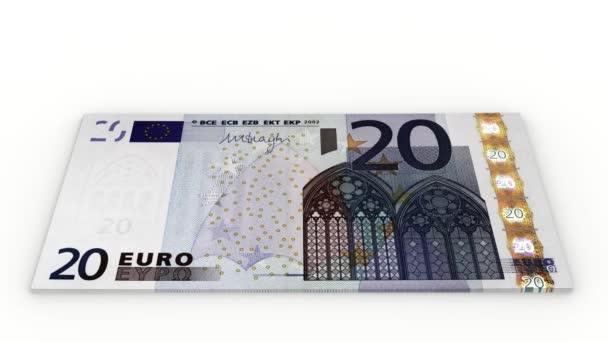 Videa. 3D obrázek. Zvýšit hromady bankovek 20 euro na bílém pozadí