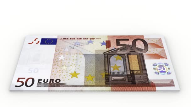 Videos. 3D illustration. Increase pile of banknotes of fifty euro on a white background