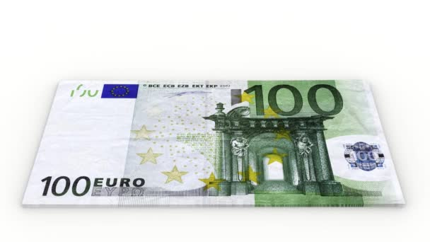 Videos. 3D illustration. Increase pile of banknotes of hundred euro on a white background