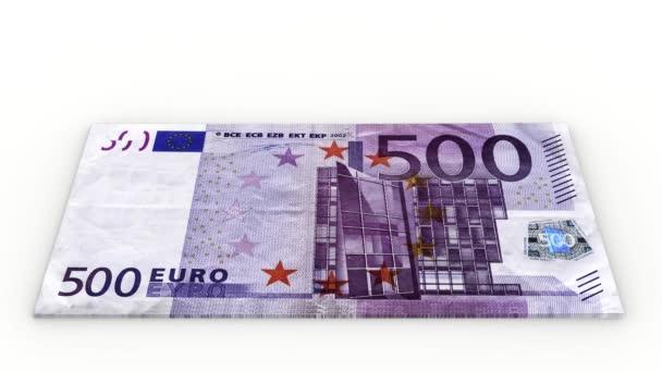 Videa. 3D ilustrace. Zvětšit hromádku bankovek o 500 EUR na bílém pozadí