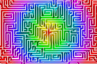3D illustration. Labyrinth, 3d render. Path to find a solution
