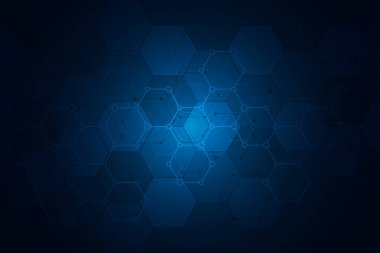 Molecular structures and hexagons elements. Abstract geometric background with molecules and communication. Hexagons pattern for medical or scientific and technological design.