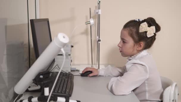 Cute pupil sitting at computer