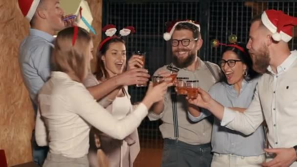 People toasting at the party on xmas.