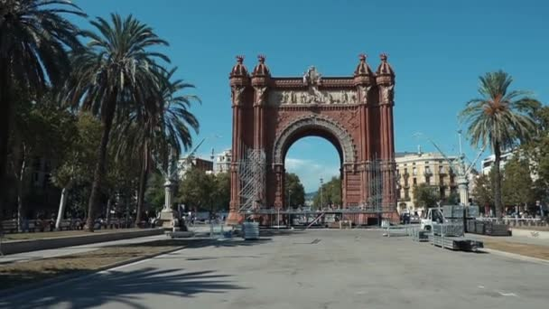 Barcelona, Spain September 2018: Arc de Triomf monument. Frontal view on famous construction in sunny summer day