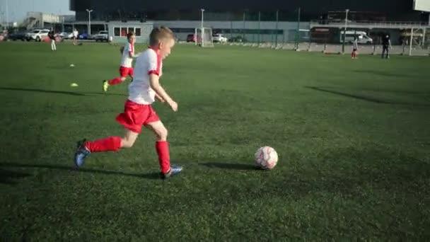 Malý fotbalista kope do gólu
