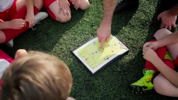 coach explains game tactic moving coloured figures