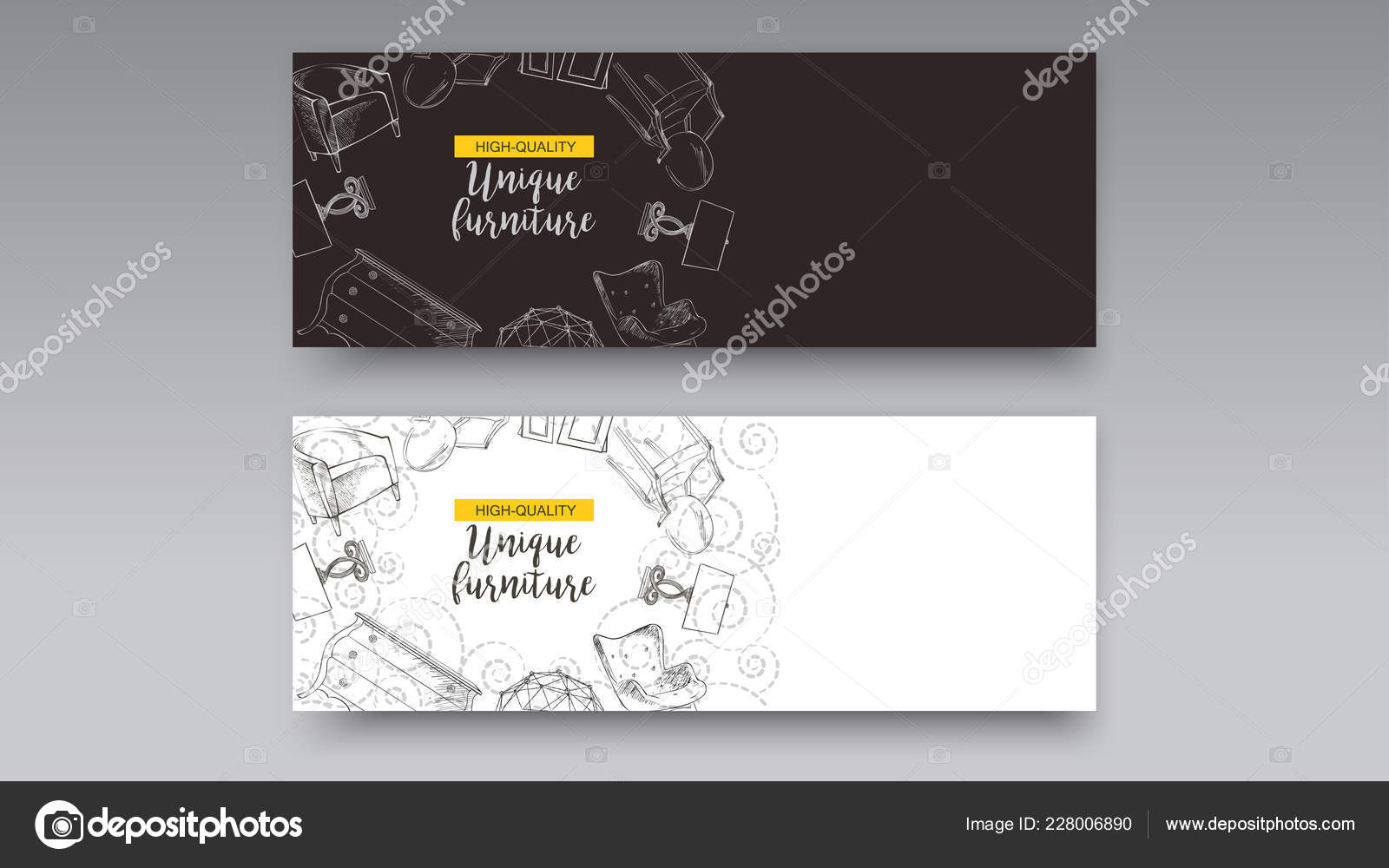 Banner Von Hand Gezeichnete Möbelhaus Wohnung Förderung Verkauf