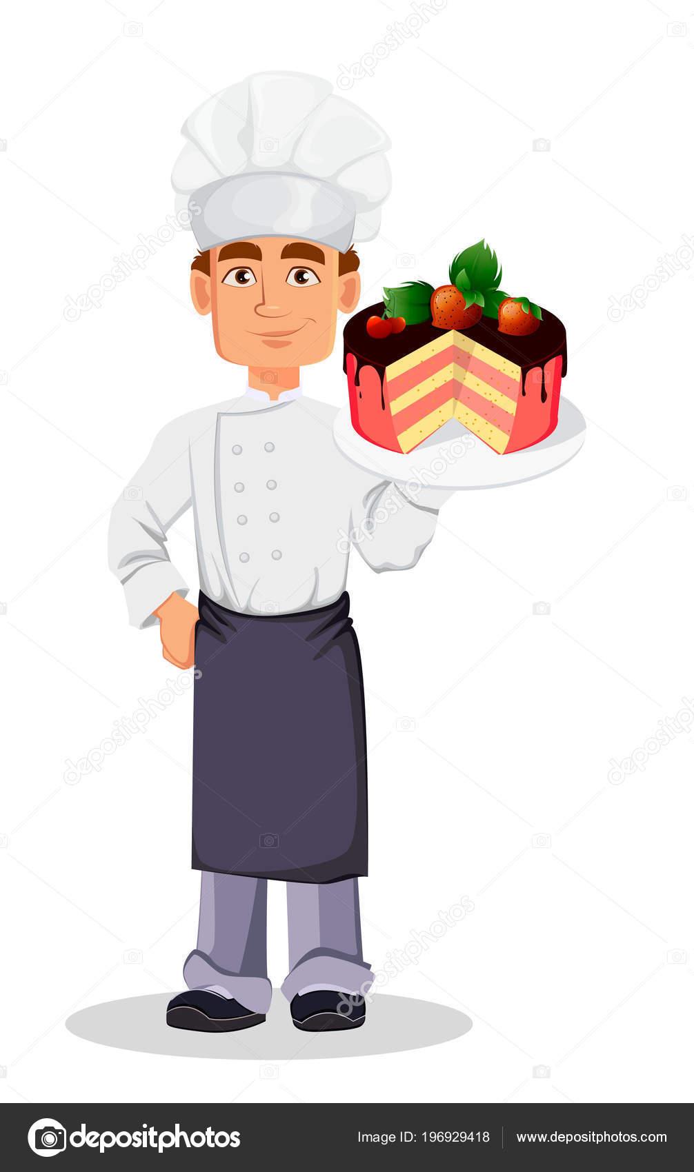 Bonito Padeiro Profissional Uniforme Chef Chap U Segurando Bolo Com