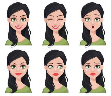 Face expressions of beautiful brunette woman in green blouse. Different female emotions set. Cute cartoon character. Vector illustration isolated on white background. stock vector