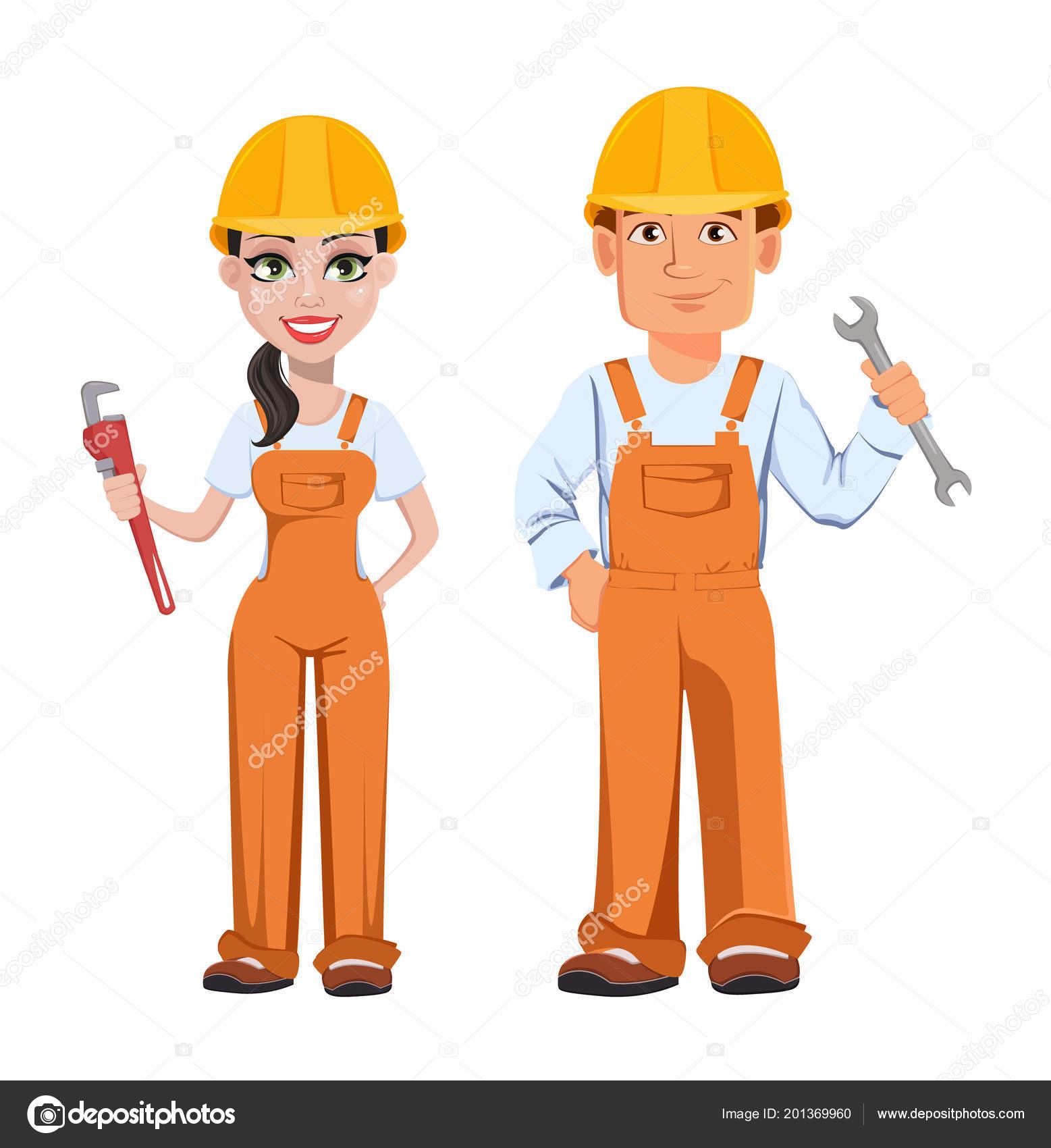 Constructor Hombre Mujer Uniforme Personajes Dibujos Animados
