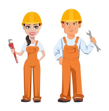 Builder man and woman in uniform, cartoon characters. Professional construction workers. Smiling repairman with wrench and woman with adjustable wrench. Vector illustration