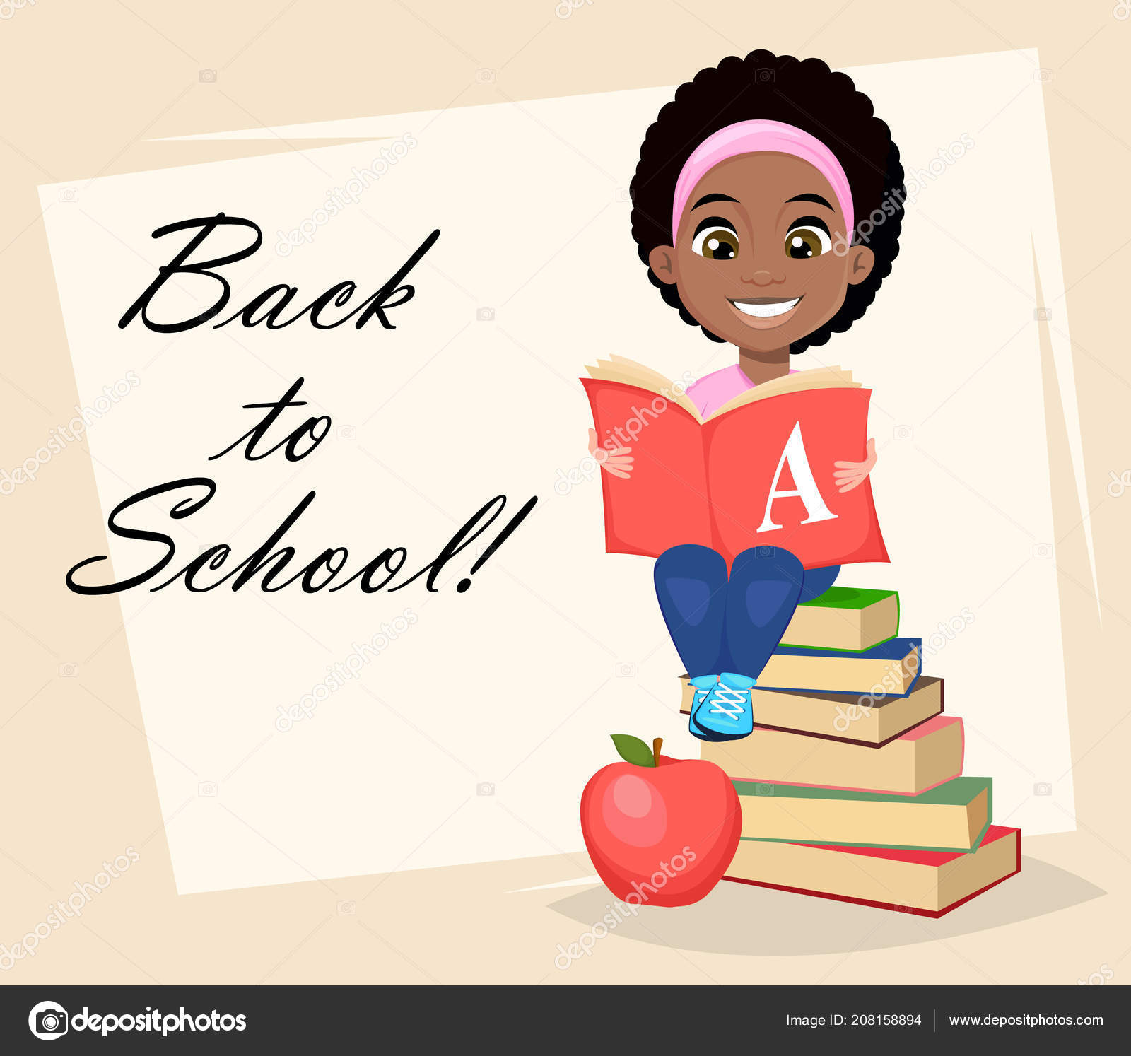 Back School Greeting Card Poster Flyer Cute African American Girl