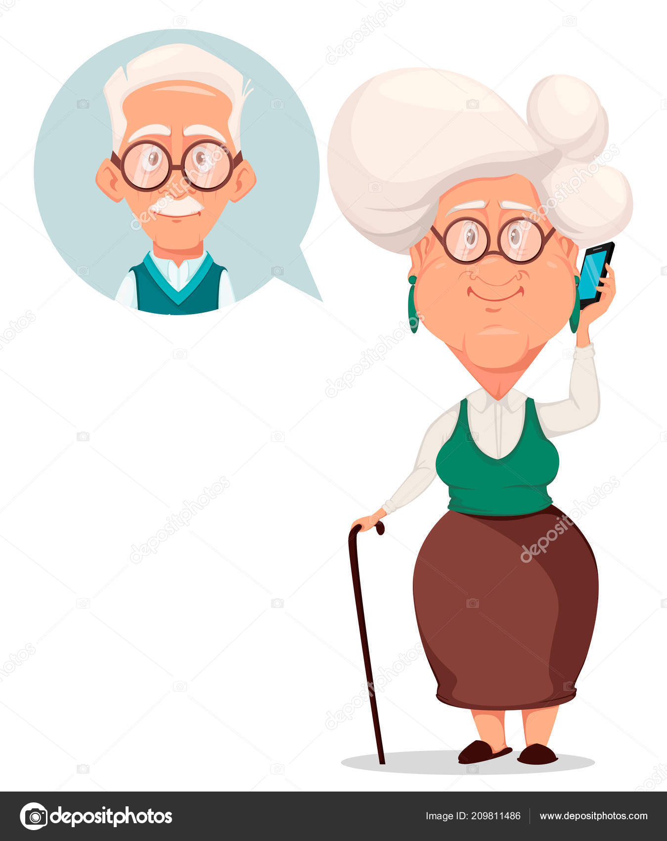 Grandparents day greeting card grandmother calling grandfather grandparents day greeting card grandmother calling grandfather silver haired grandma stock vector m4hsunfo