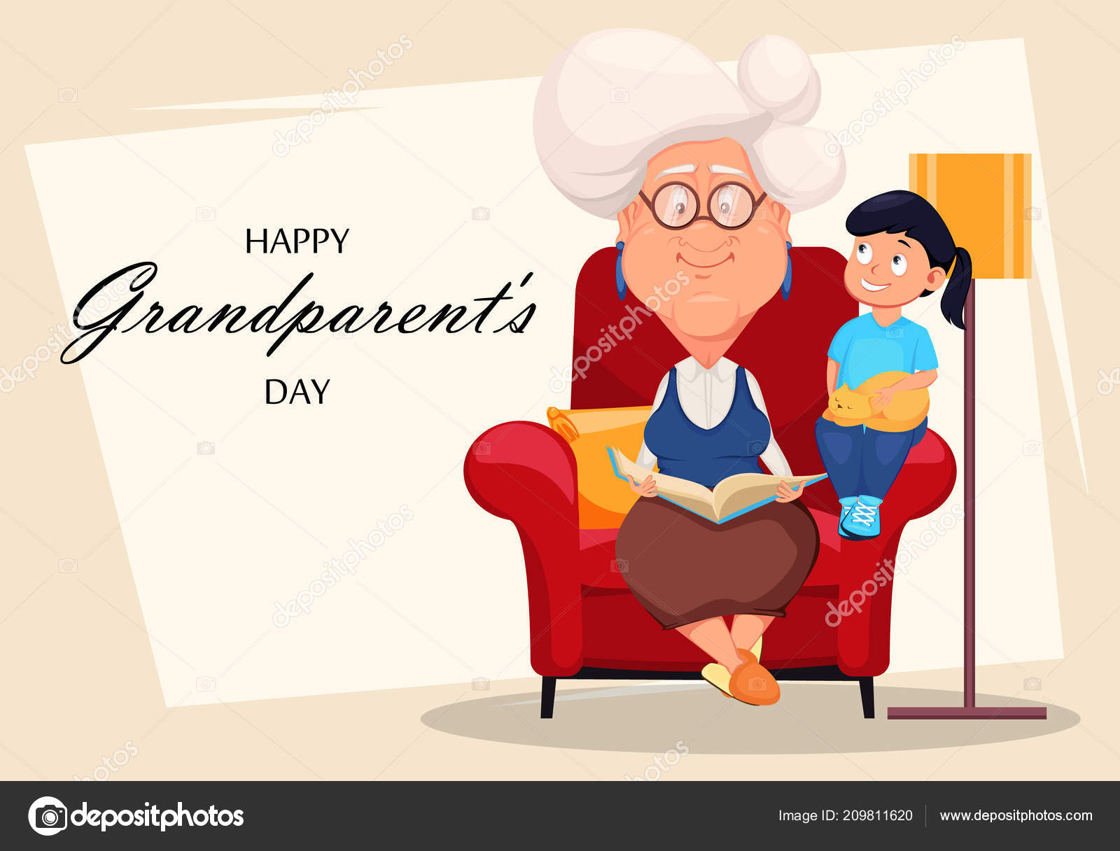Happy grandparents day greeting card silver haired grandma sitting happy grandparents day greeting card silver haired grandma sitting armchair stock vector m4hsunfo