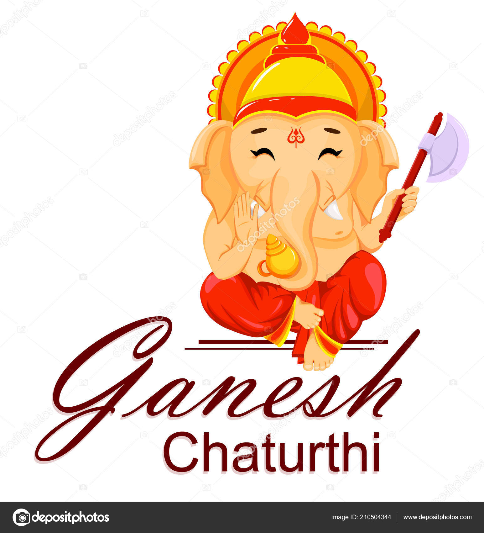 Happy Ganesh Chaturthi Greeting Card Traditional Indian Festival