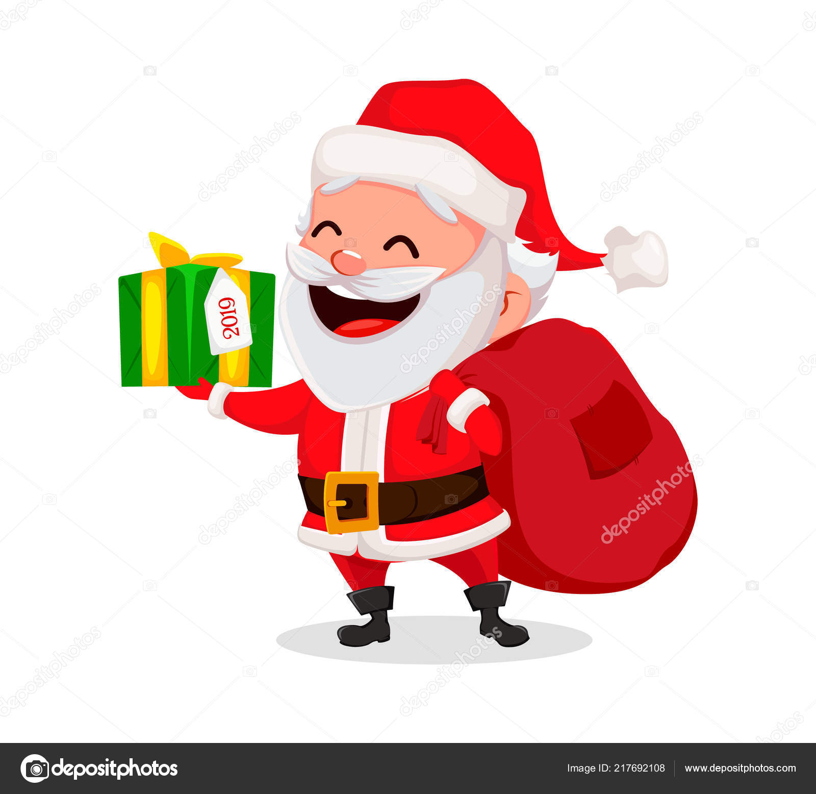 Merry Christmas Funny Santa Claus Cheerful Cartoon Character Holding ...