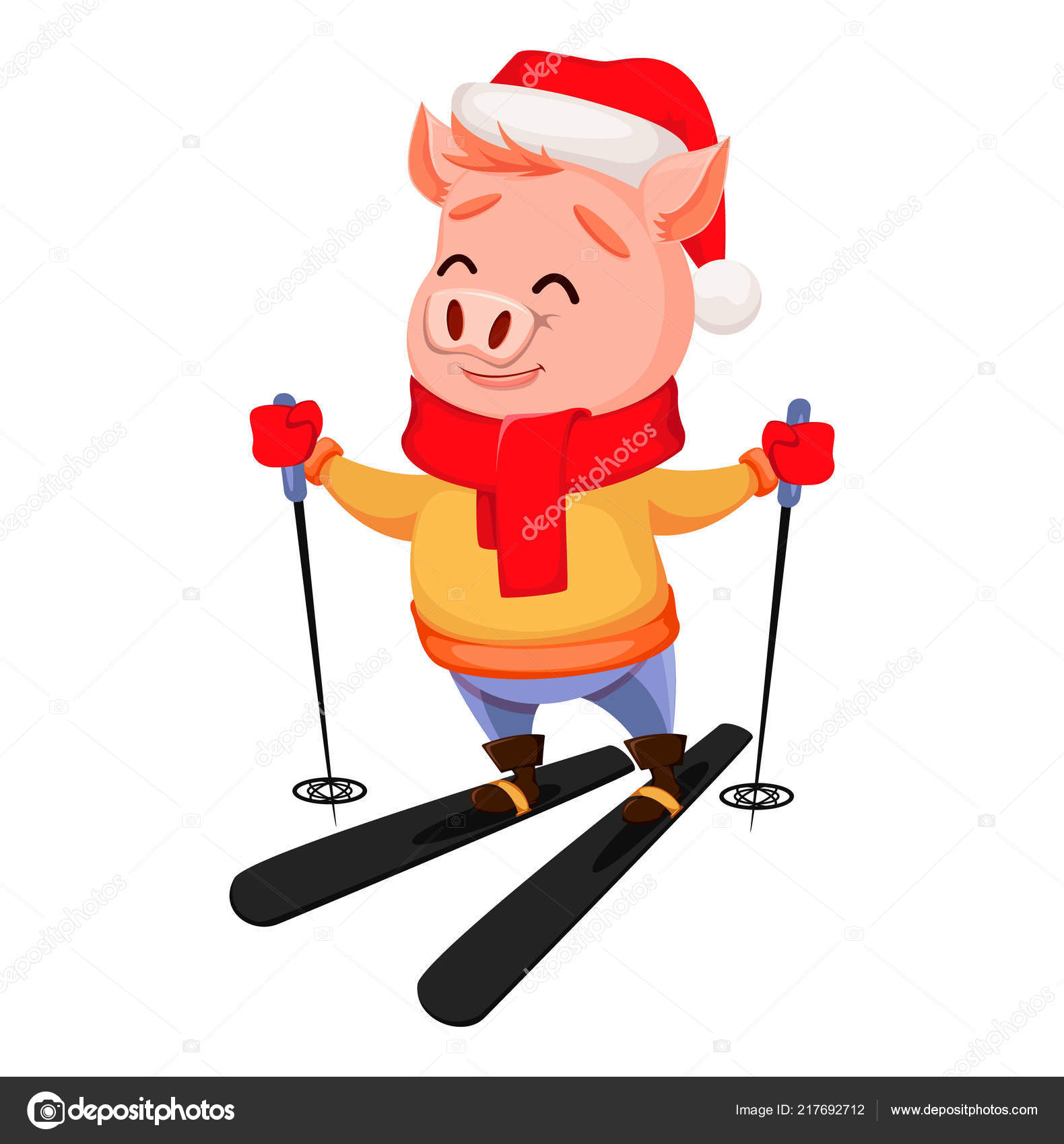 merry christmas cute pig wearing santa claus hat scarf cheerful stock vector