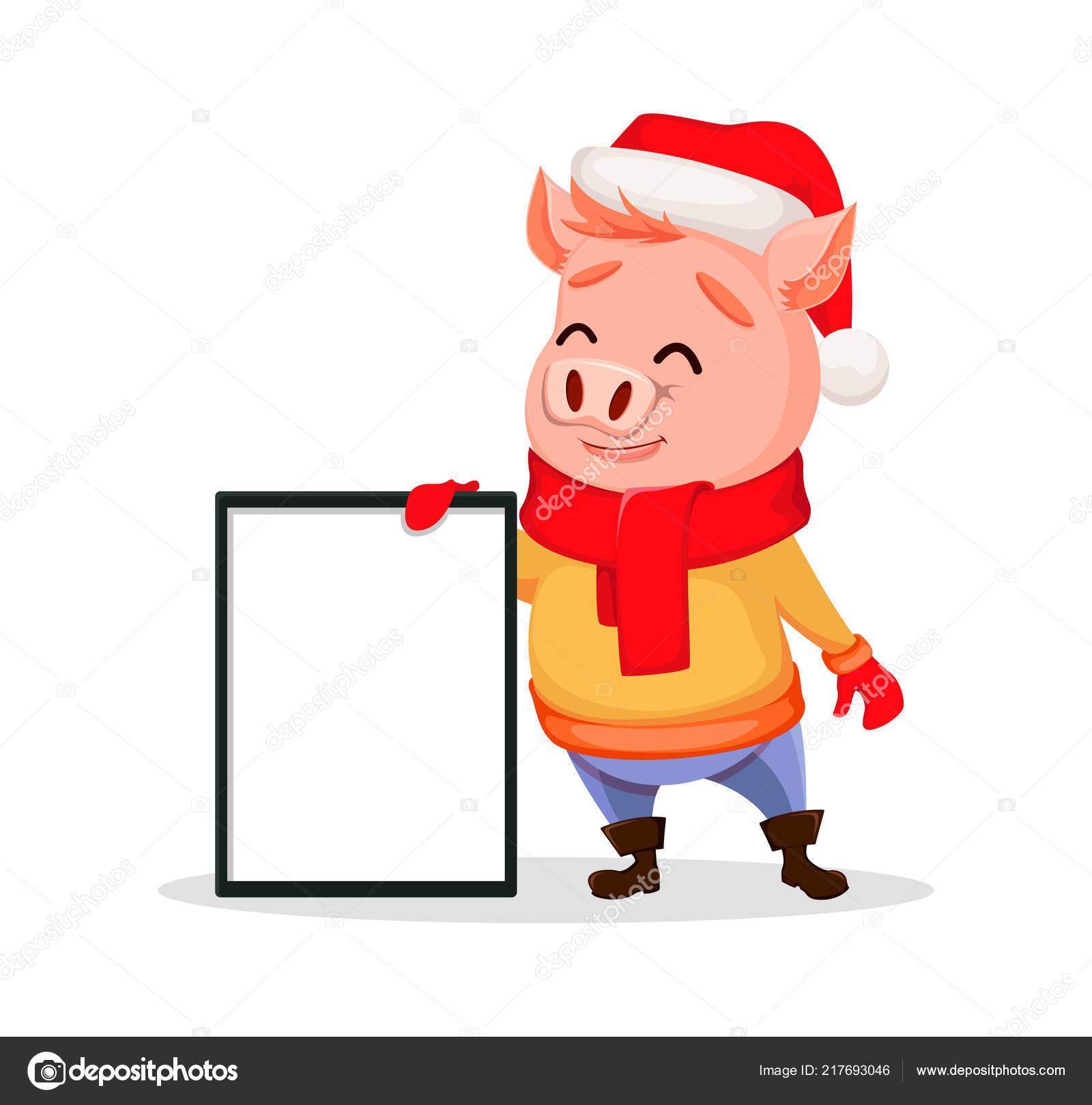 Frohe Weihnachten Niedliche Schwein Weihnachtsmann Mütze Und Schal ...