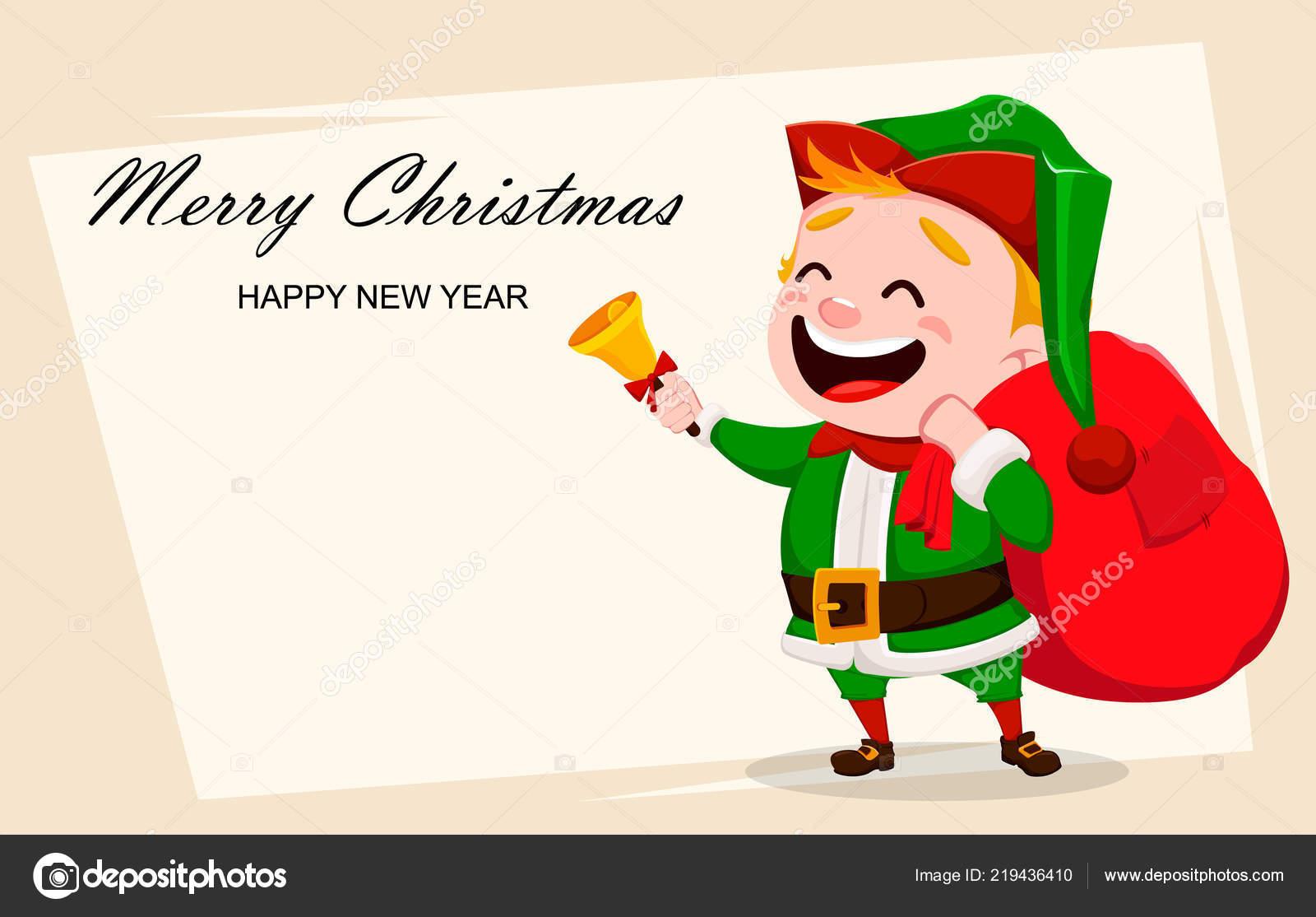 Merry Christmas Greeting Card Funny Santa Claus Helper Cheerful Cute ...