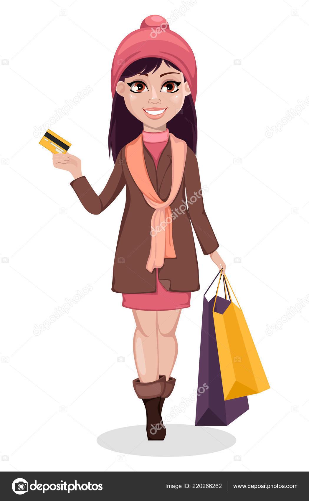 Black Friday Beautiful Girl Cartoon Character Holding Shopping Bags