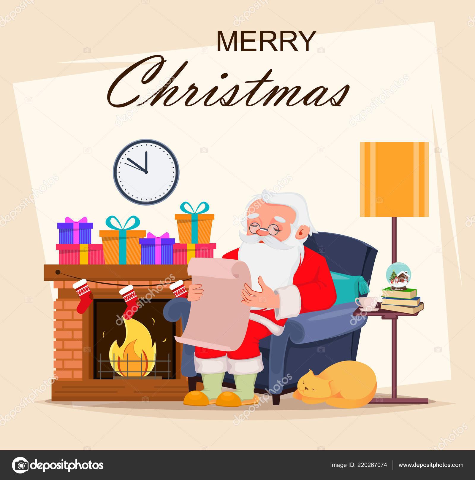 Feliz Tarjeta Felicitación Navidad Con Santa Claus Dibujos Animados