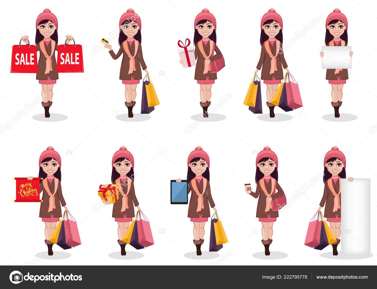Christmas Shopping Beautiful Girl Cartoon Character Set Ten Poses