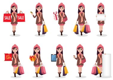 Christmas shopping. Beautiful girl, cartoon character, set of ten poses. Vector illustration