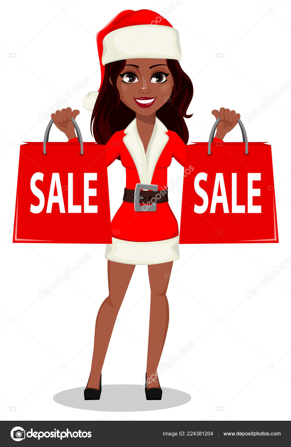merry christmas and happy new year african american woman in santa claus costume usable for landing page greeting card etc
