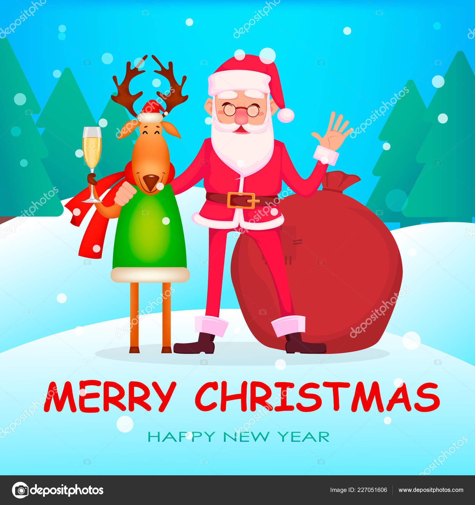 Christmas Greeting Card Funny Santa Claus Glasses Cheerful Cartoon ...
