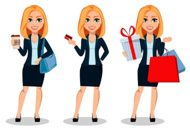 Business woman in office style clothes, set of three poses. Modern lady businesswoman holds coffee, holds credit card and holds shopping bags. Cheerful cartoon character. Vector illustration