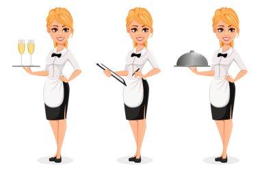 Happy blonde waitress, set of three poses