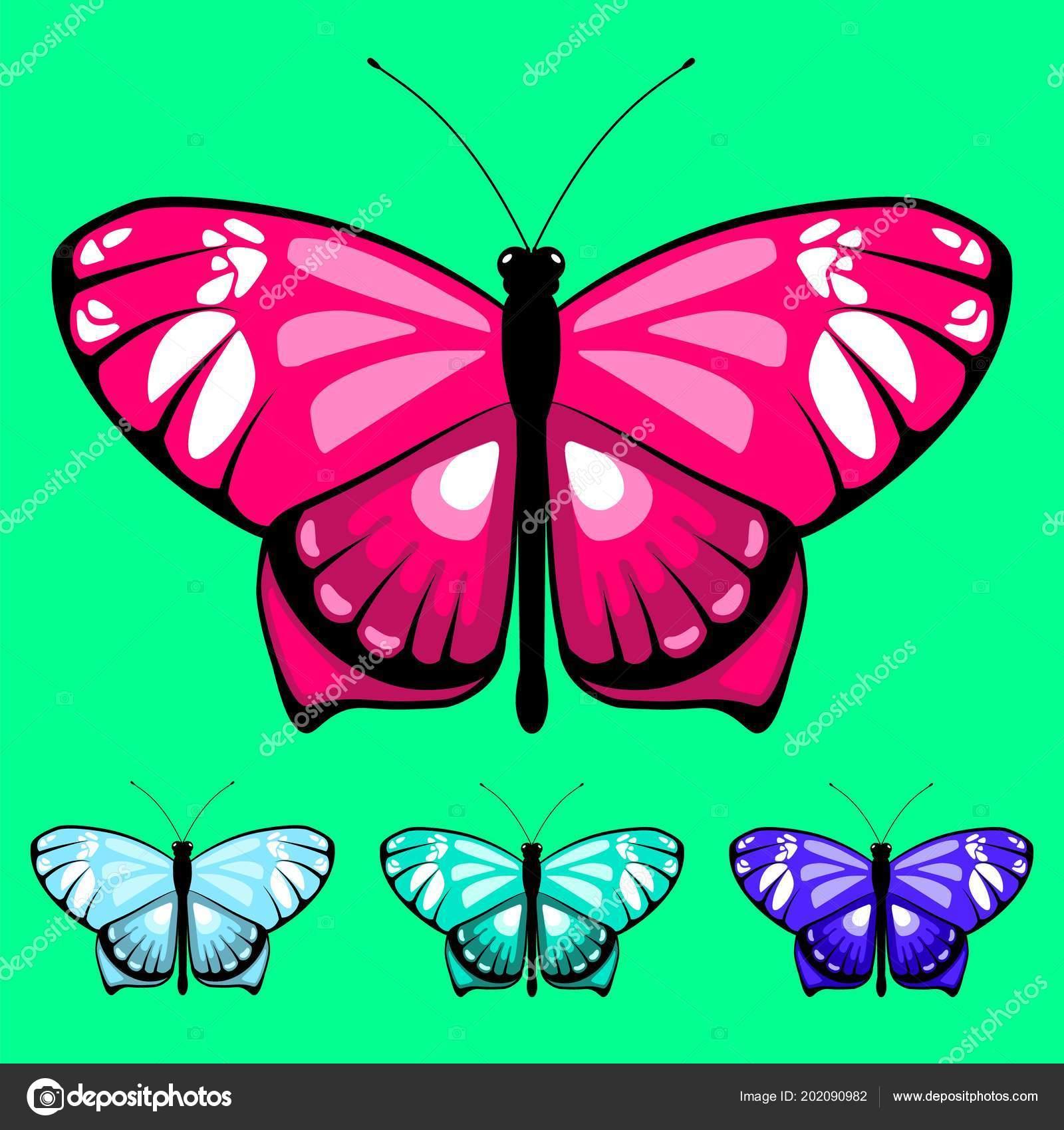 Farfalla Dell Acquerello Vettore Insieme Bambini Libro Colorare