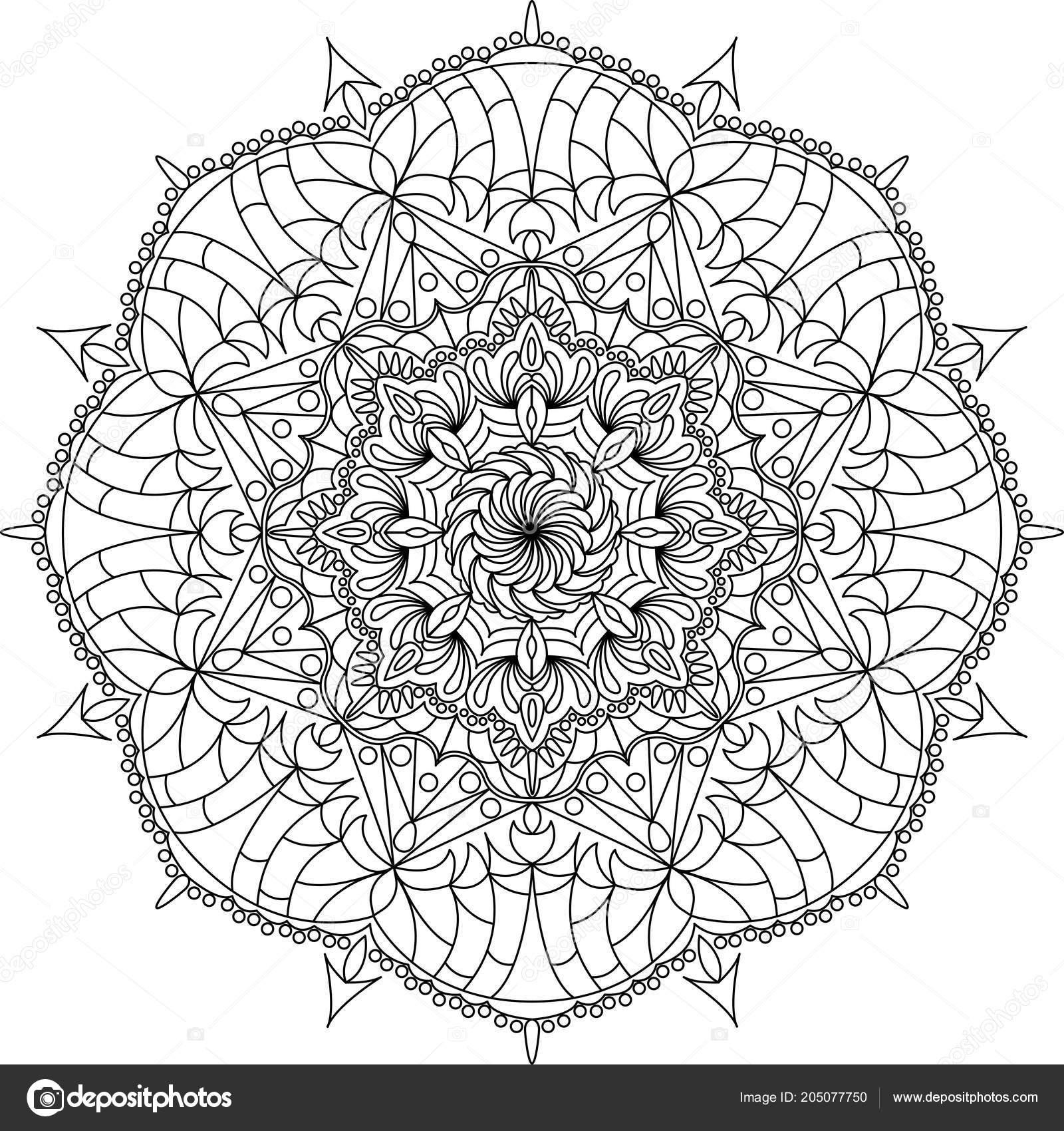 Flower Ornament Circles Mandala Design Adult Mandala Coloring Page ...