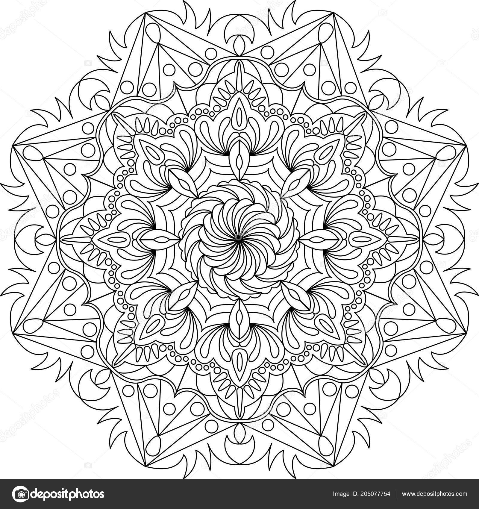 Diseño Mandala Flor Adorno Círculos Página Para Colorear Mandala ...