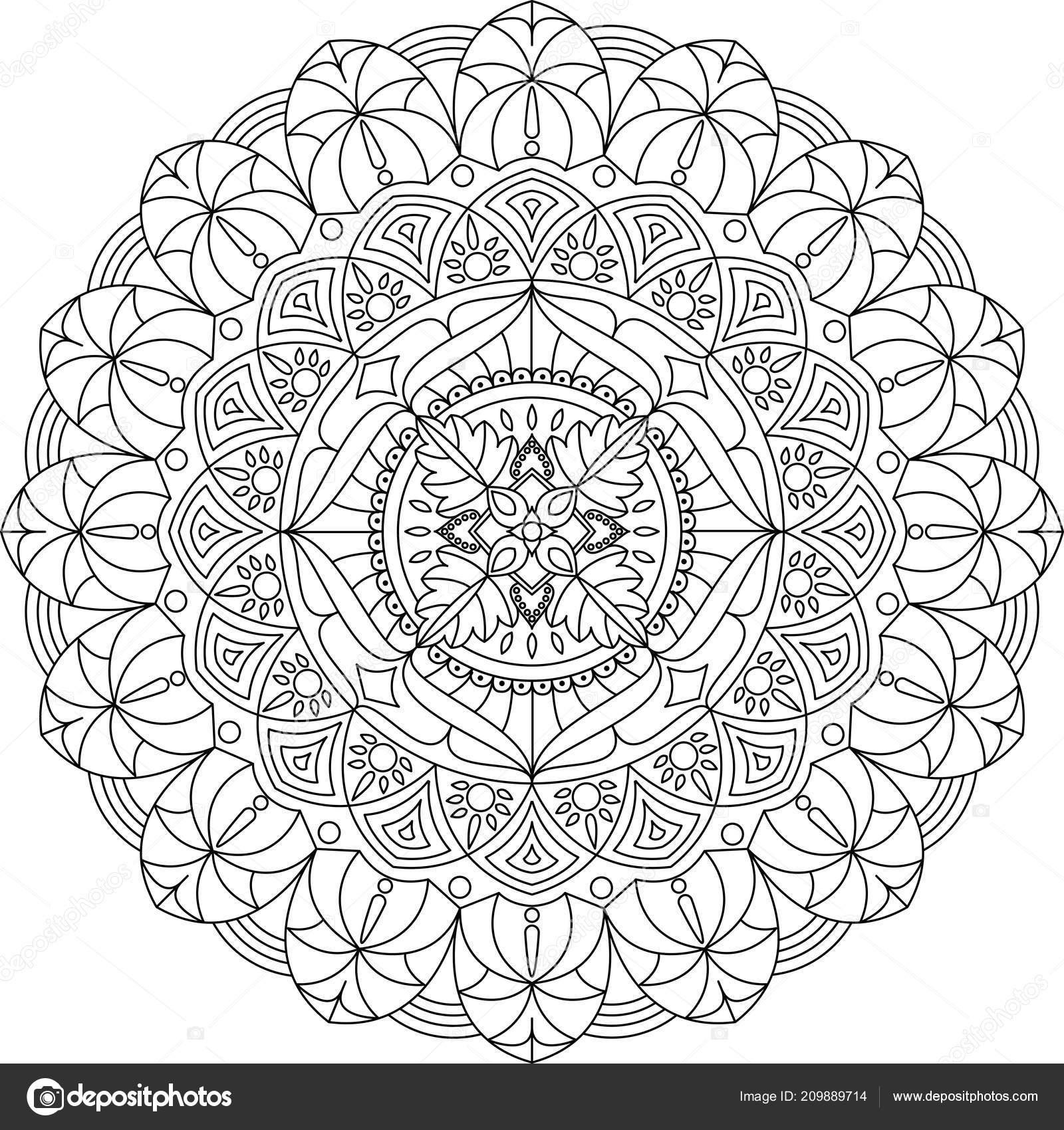 Coloriage Mandala Couleur.Ornement Mandala Illustration Vectorielle Mandala Couleur Noire