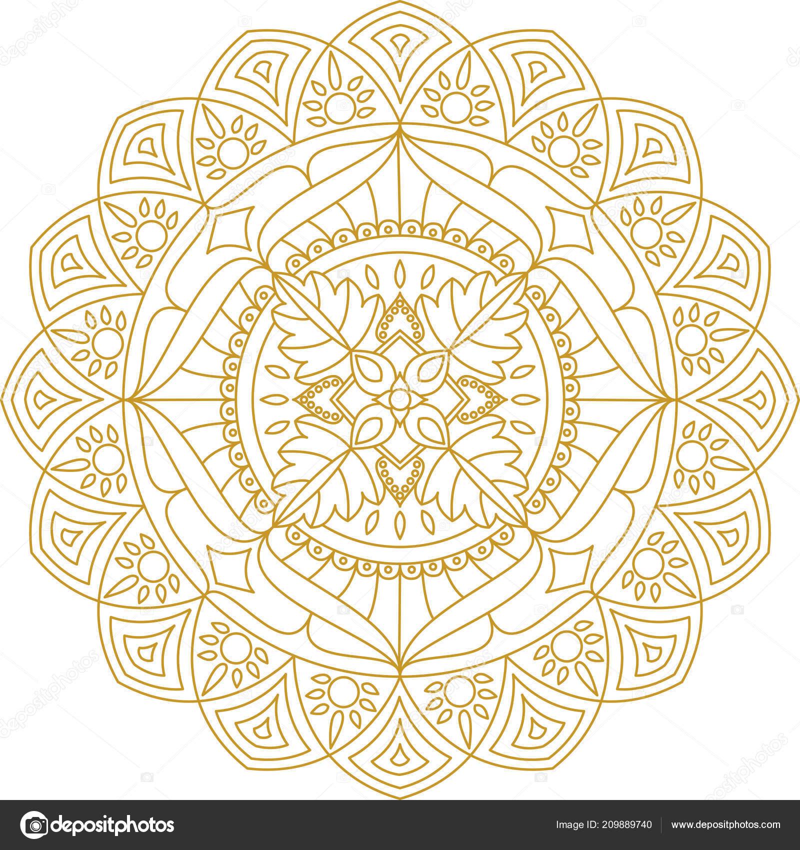 Coloriage Mandala Couleur.Ornement Mandala Illustration Vectorielle Mandala Couleur Coloriage