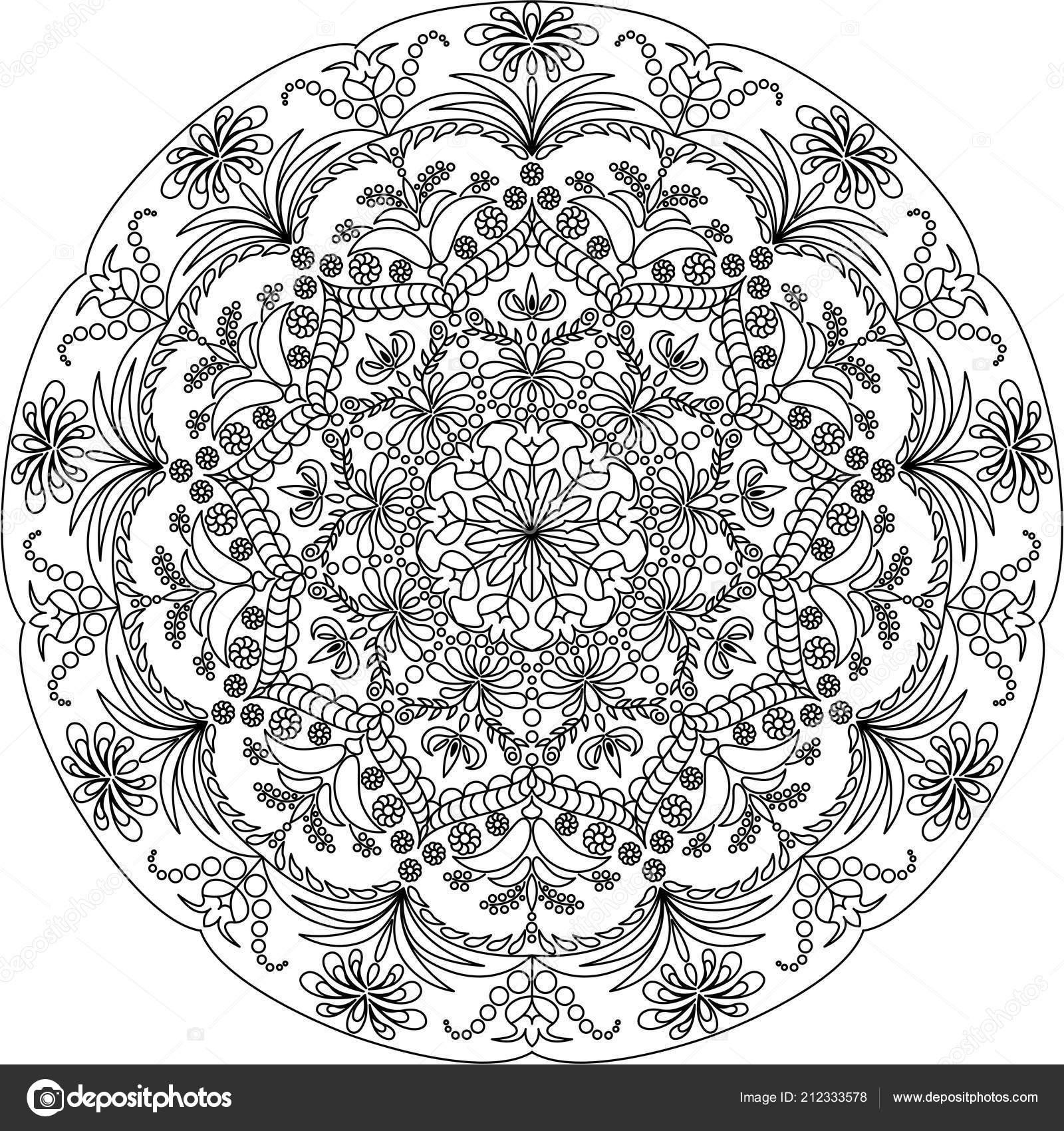 Mandala Malvorlagen Für Erwachsene Schwarz Weiß Muster Entspannen