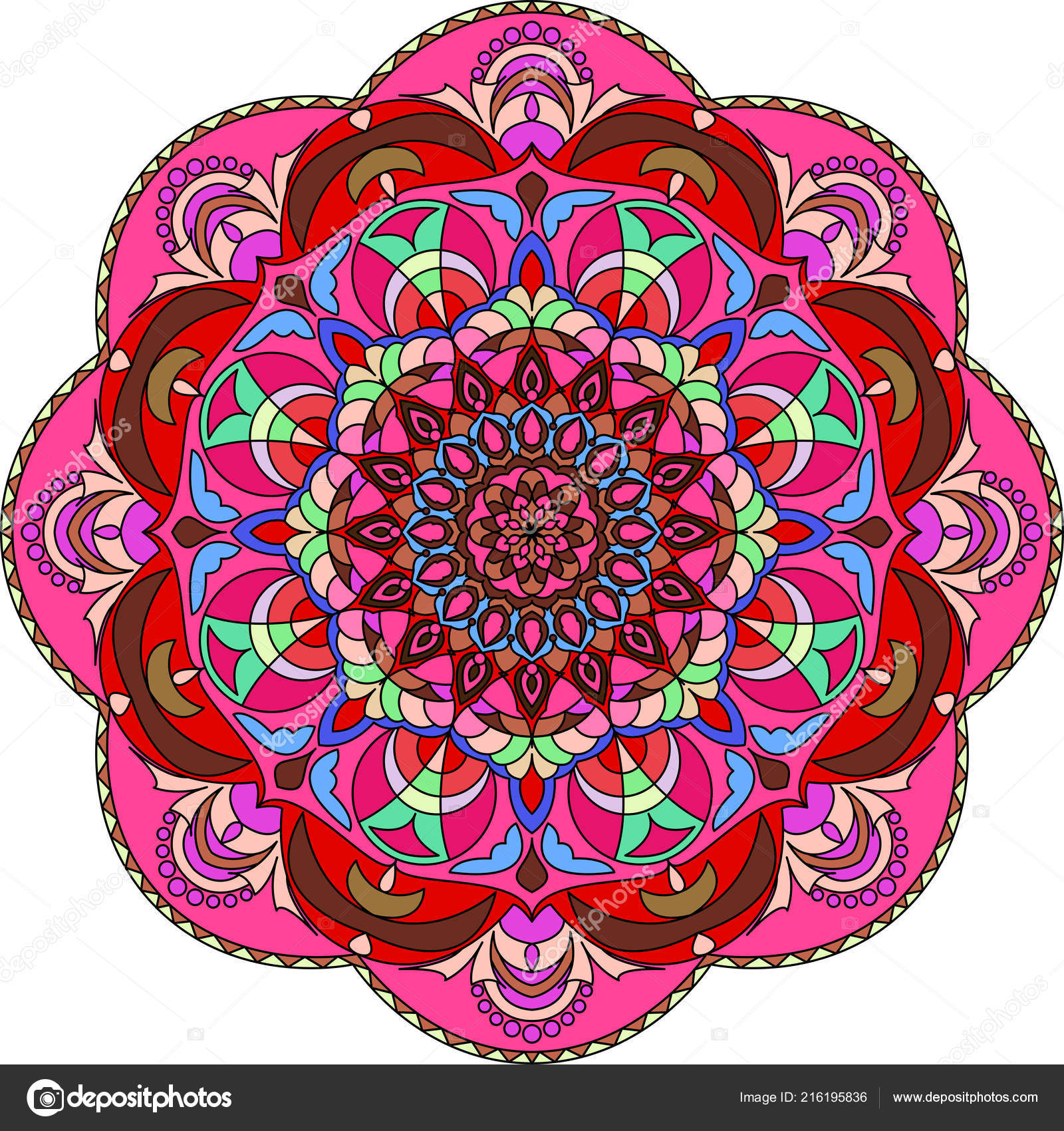 Colorful Mandala Coloring Book Decorative Ornaments Stress ...