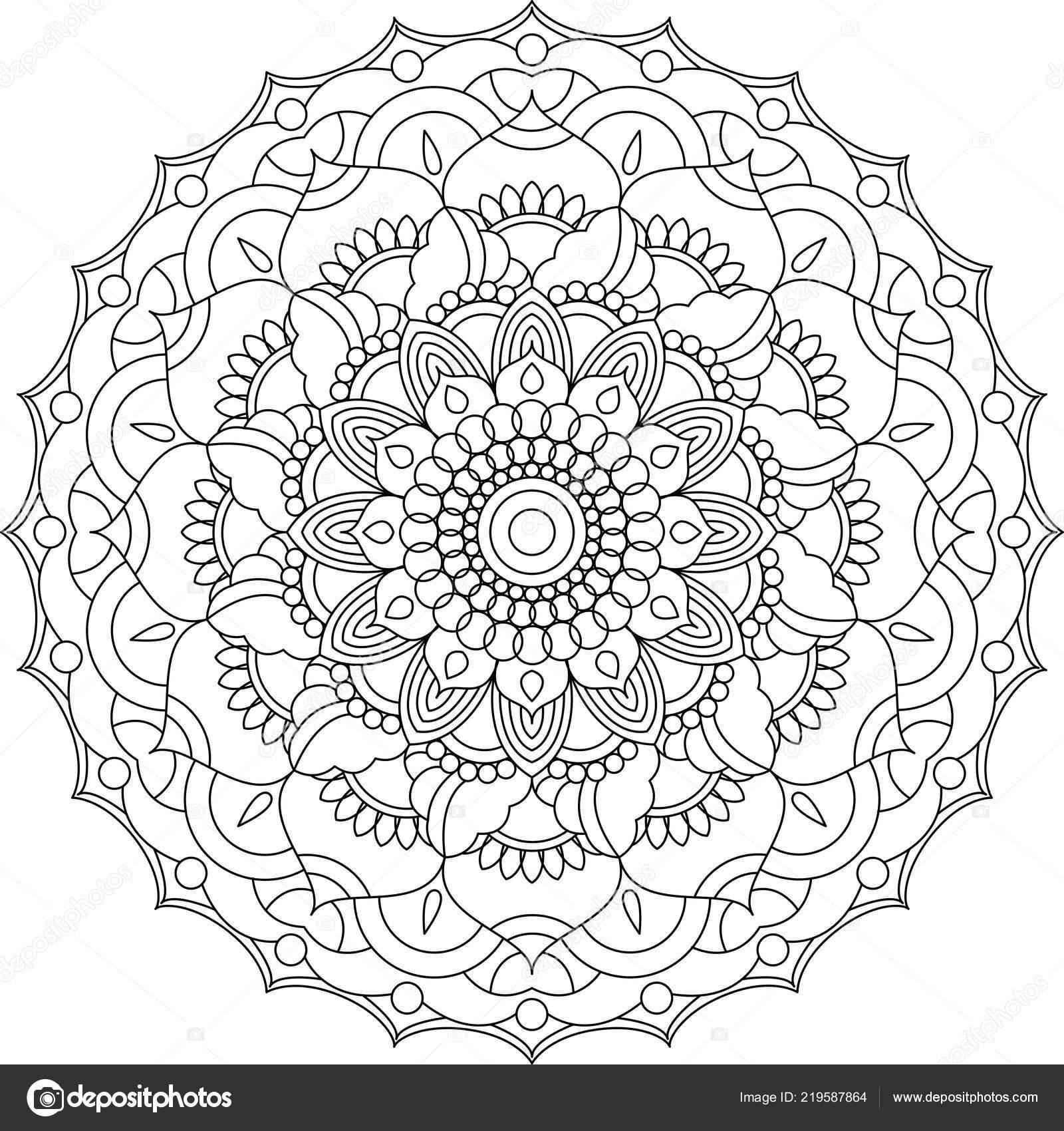 Mandala Coloring Page Adult Coloring Relax Meditation Poster
