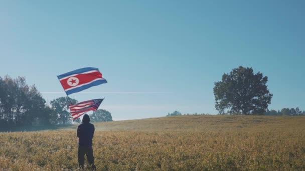 Amerika ve Kuzey Kore bayrağı