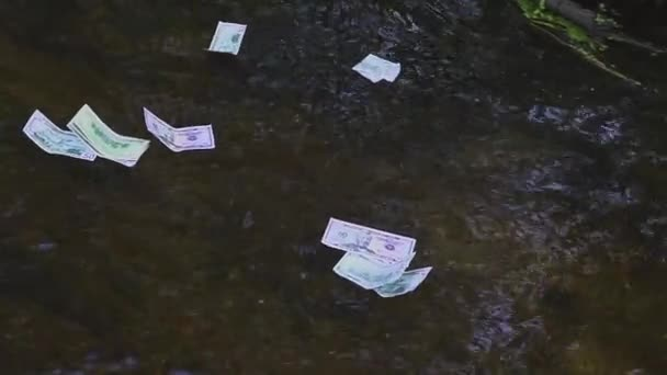 a dollar bill floats along the river. Concept on the theme of unexpected wealth
