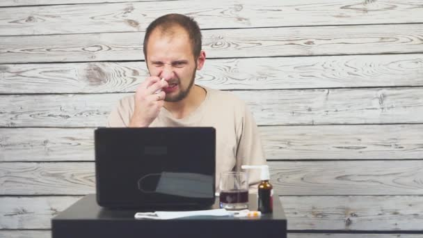 Sick Beard Man Coughing, Sitting at workplace with computer.