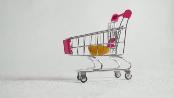 Dried apricots in a shopping cart