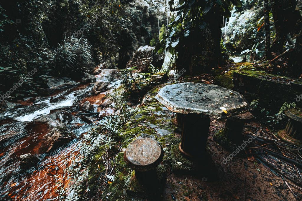 Forsaken ruins in the jungle: stone table with multiple backless stools around with bases in form of antique pillars, masonry behind, a small rusty river on the left; wide-angle shooting