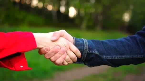 Ruční podání dvou mladých lidí v létě v parku na pozadí zelené trávy a stromů.