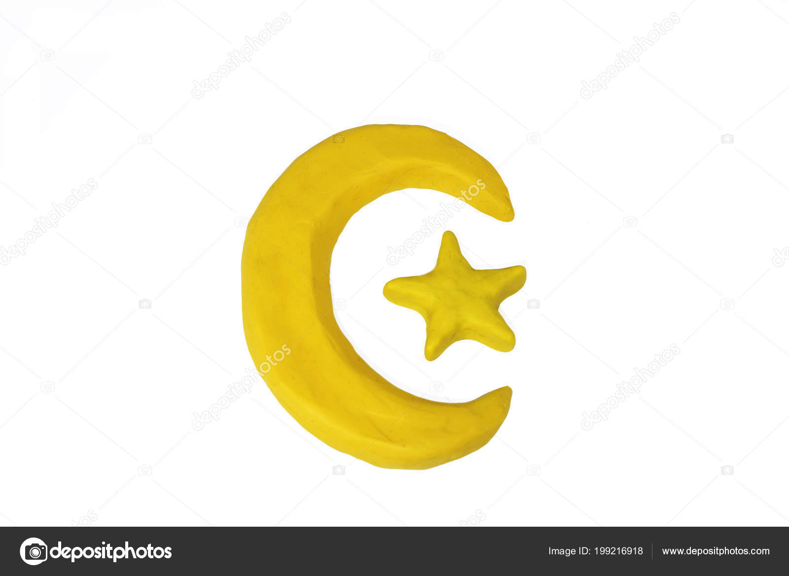 Symbols Islam Objects Made Play Clay Abstract Isolated Photo Stock